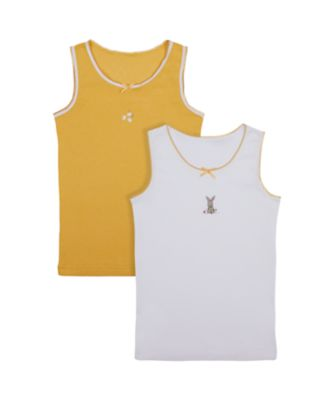 Mothercare Girls Little Bunny Colour Vest - 2 Pack