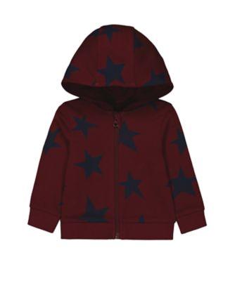 Mothercare Statement Flow Burgundy Star Print Zip-Thru Long Sleeve Hoody