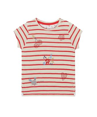 Mothercare Autumn Orchard Stripe Diamante Short Sleeve T-Shirt