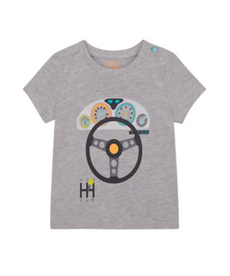 Mothercare Street Smart Grey Marl Wheel Short Sleeve T-Shirt