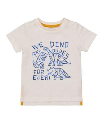 Mothercare Geo Dino White Dinosaur Dudes Short Sleeve T-Shirt