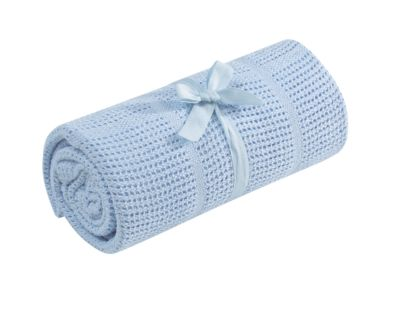 Mothercare Cellular Moses/Crib Blanket - Blue