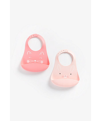 Mothercare Cat And Bunny Crumb-Catcher Silicone Bibs - 2 Pack