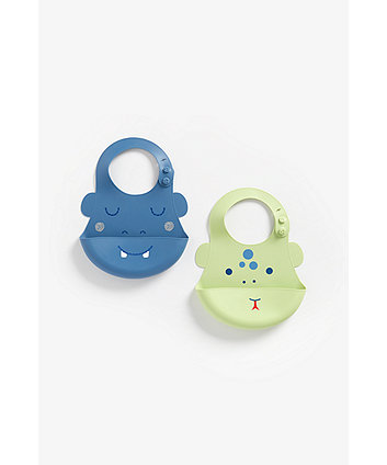Mothercare Faces Crumb-Catcher Silicone Bibs - 2 Pack