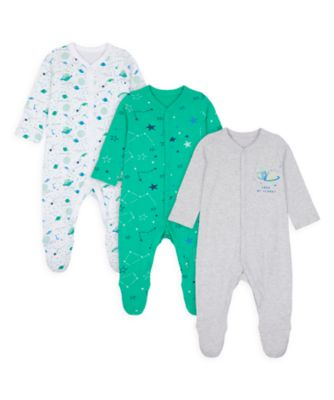 Mothercare Boys Me & My World Sleepsuits - 3 Pack
