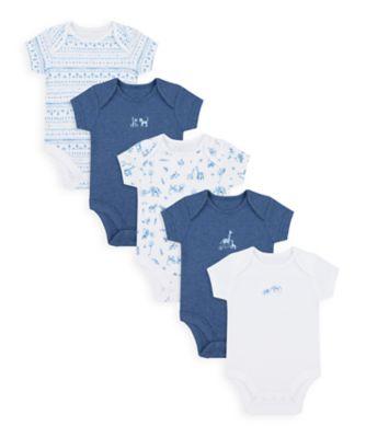 Mothercare Boys Safari Friends Short Sleeve Bodysuits - 5 Pack