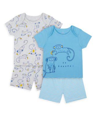 Mothercare Boys Monkey Shortie Pyajamas - 2 Pack