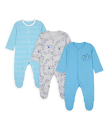 Little Monkey Sleepsuits - 3 Pack [SS21]
