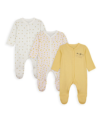 Mothercare Mummy And Daddy Bee Sleepsuits - 3 Pack