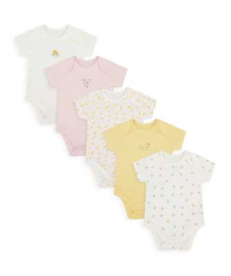Mothercare Girls Mummy & Daddy Bee Short Sleeve Bodysuits - 5 Pack