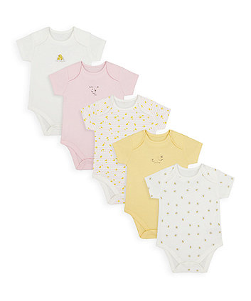 Mothercare Mummy And Daddy Little Bee Bodysuits - 5 Pack