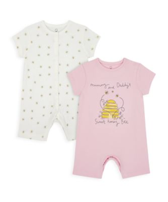 Mothercare Girls Mummy & Daddy Bee Rompers - 2 Pack