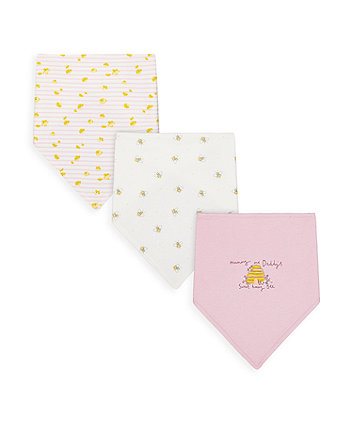 Mothercare Mummy And Daddy Little Bee Bandana Bibs - 3 Pack