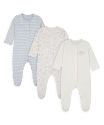Mothercare Girls Spring Bunny Sleepsuits - 3 Pack