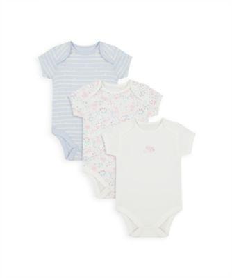 Mothercare Girls Spring Bunny Short Sleeve Bodysuits - 3 Pack
