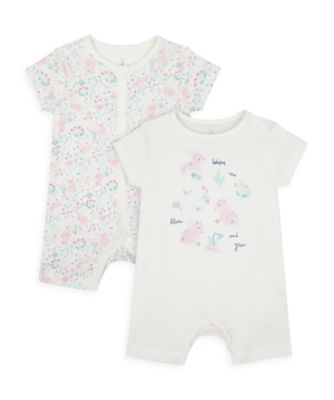 Mothercare Girls Spring Bunny Rompers - 2 Pack
