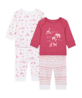 Mothercare Girls Safari Friends Pyjamas - 2 Pack