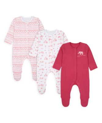 Mothercare Girls Safari Friends Sleepsuits - 3 Pack
