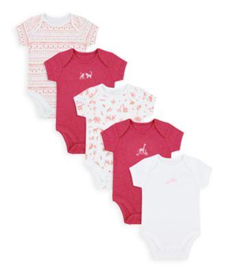 Mothercare Girls Safari Friends Short Sleeve Bodysuits - 5 Pack