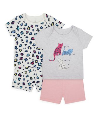 Mothercare Girls Little Leopard Shortie Pyajamas - 2 Pack