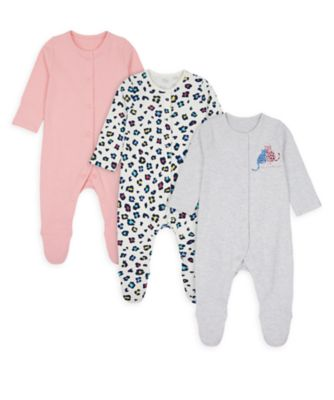 Mothercare Girls Little Leopard Sleepsuits - 3 Pack