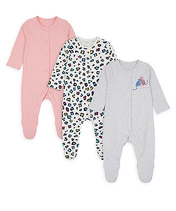 Mothercare Little Leopard Sleepsuits - 3 Pack