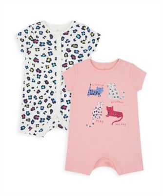 Mothercare Girls Little Leopard Rompers - 2 Pack