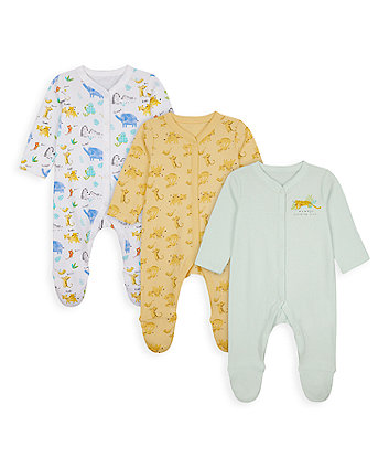 Mothercare Mummy And Daddy Safari Sleepsuits - 3 Pack