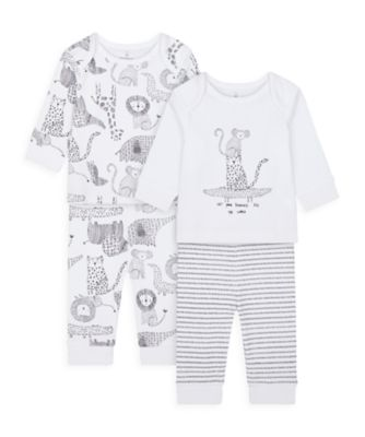 Mothercare Unisex Monochrome Pyjamas - 2 Pack