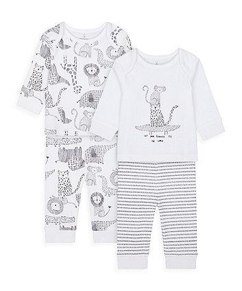 Mothercare Monochrome Pyjamas - 2 Pack