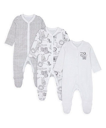 Mothercare Monochrome Sleepsuits - 3 Pack