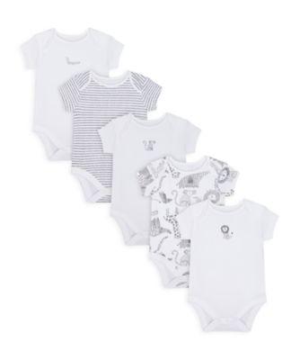 Mothercare Unisex Monochrome Short Sleeve Bodysuits - 5 Pack