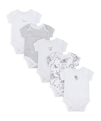 Mothercare Monochrome Bodysuits - 5 Pack