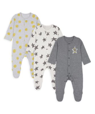 Mothercare Unisex Stars And Spots Sleepsuits - 3 Pack
