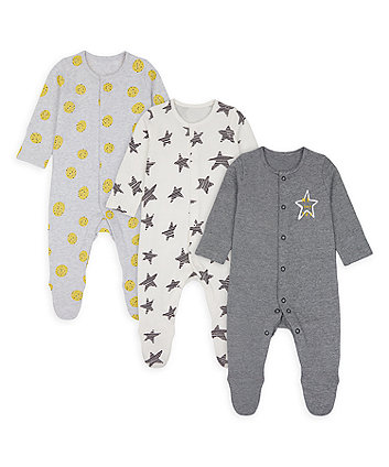 Mothercare Stars And Spots Sleepsuits - 3 Pack