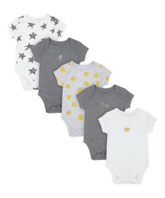 Mothercare Unisex Stars And Spots Short Sleeve Bodysuits - 5 Pack