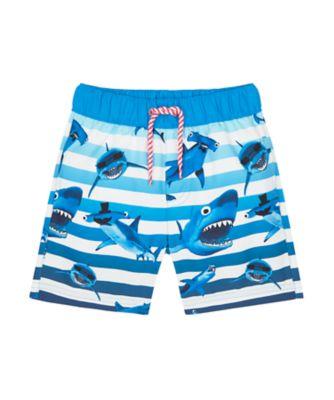 Mothercare Swimwear-Under The Sea Stripe Shark Print Boardshort