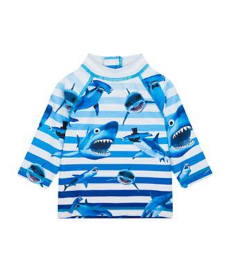 Mothercare Swimwear-Under The Sea Shark Stripe Aop Rashvest