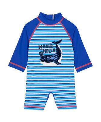 Mothercare Swimwear-Under The Sea Whale Hello Stripe Sunsafe