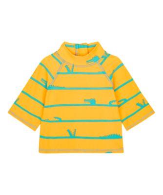 Mothercare Swimwear-Eco Jungle Stripe Croc Orange And Blue Rashvest