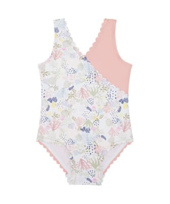 Mothercare Swimwear-Sun Bleached Scalop Cross Over Swimsuit