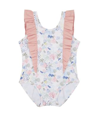 Mothercare Swimwear-Sun Bleached Reef Allover Print Frill Swimsuit