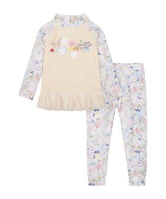 Mothercare Swimwear-Sun Bleached Reef Allover Print Rash Vest And Legging Set
