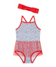 Red Floral Swimsuit With Headband [SS21]
