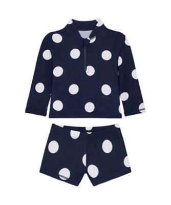 Mothercare Swimwear-Regatta Beach Navy Spot Rashvest And Short Set