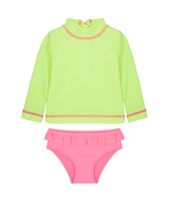 Mothercare Swimwear-Neon Wave Yellow Rashvest Monokini Set
