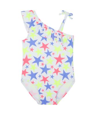 Mothercare Swimwear-Neon Wave Multi Star One Shoulder Swimsuit