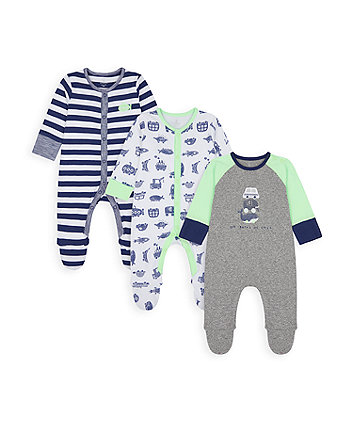 Mothercare Little Cars Sleepsuits - 3 Pack