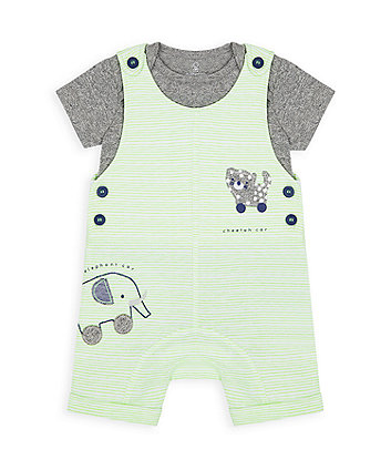 Mothercare Striped Bibshorts And Bodysuit Set