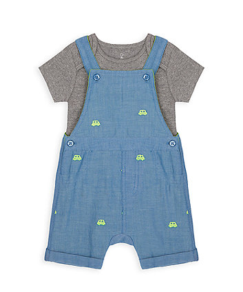 Mothercare Little Car Denim Bibshorts And Bodysuit Set